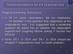 recommendations for the questionnaire11