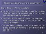 recommendations for the questionnaire13