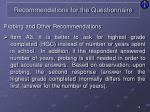 recommendations for the questionnaire17