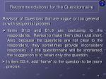 recommendations for the questionnaire7