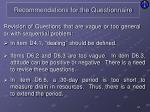 recommendations for the questionnaire8
