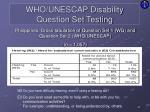 who unescap disability question set testing10