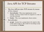 java api for tcp streams