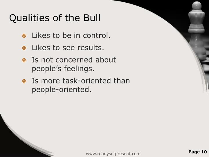 Qualities of the Bull