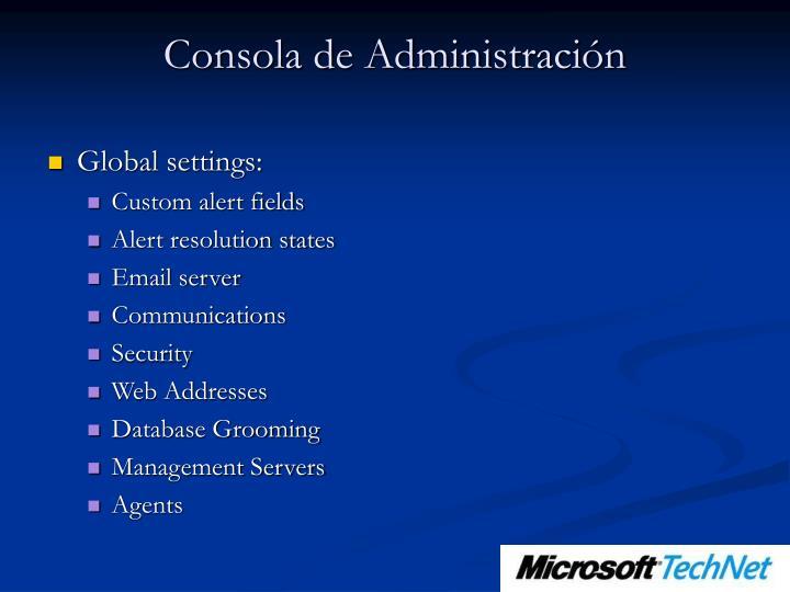 Consola de Administración