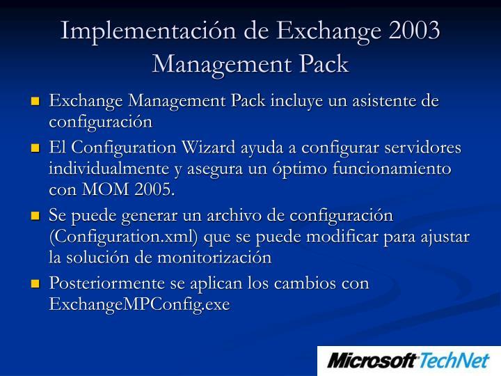Implementación de Exchange 2003 Management Pack