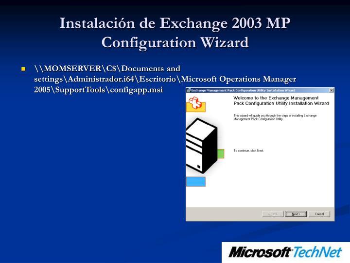 Instalación de Exchange 2003 MP Configuration Wizard