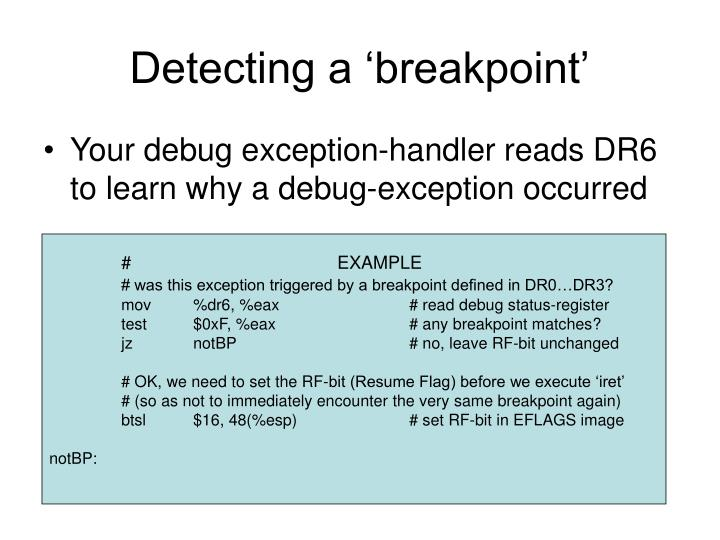 Detecting a 'breakpoint'