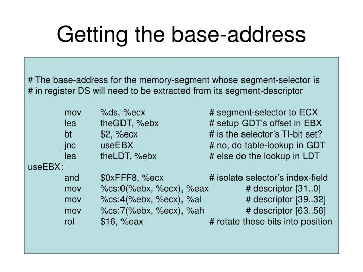 Getting the base-address
