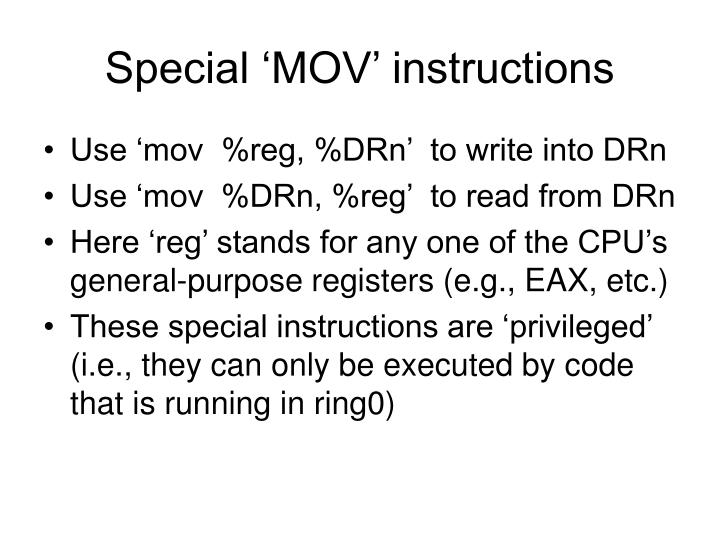 Special 'MOV' instructions