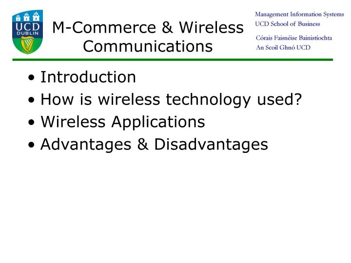 M-Commerce & Wireless Communications