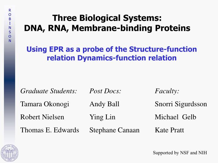 three biological systems dna rna membrane binding proteins n.