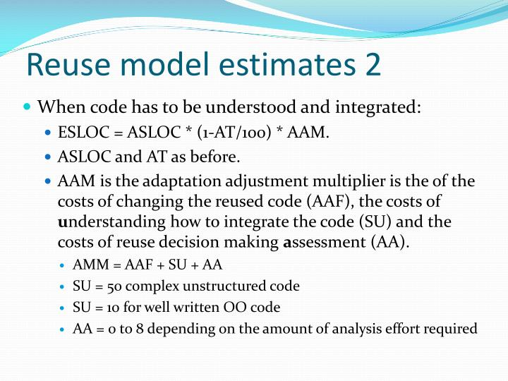 Reuse model estimates 2