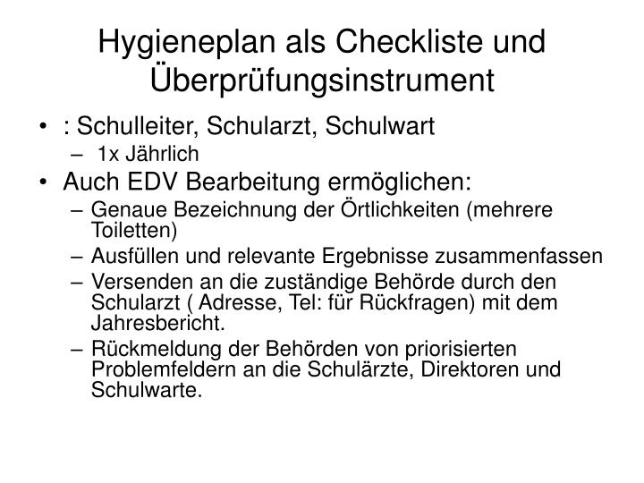 Hygieneplan als Checkliste und Überprüfungsinstrument