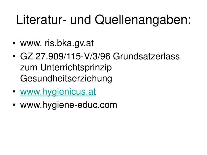 Literatur- und Quellenangaben: