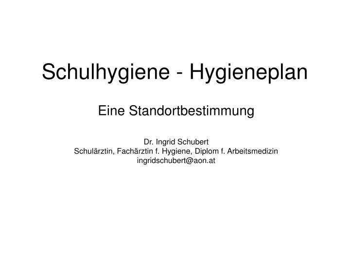 Schulhygiene hygieneplan