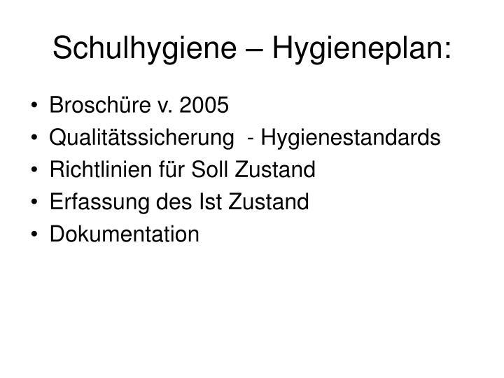 Schulhygiene – Hygieneplan: