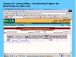 screen for commenting sanctioning projects for administrative sanction