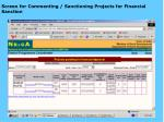 screen for commenting sanctioning projects for financial sanction