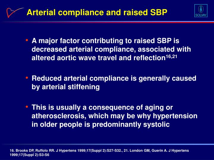 Arterial compliance and raised SBP