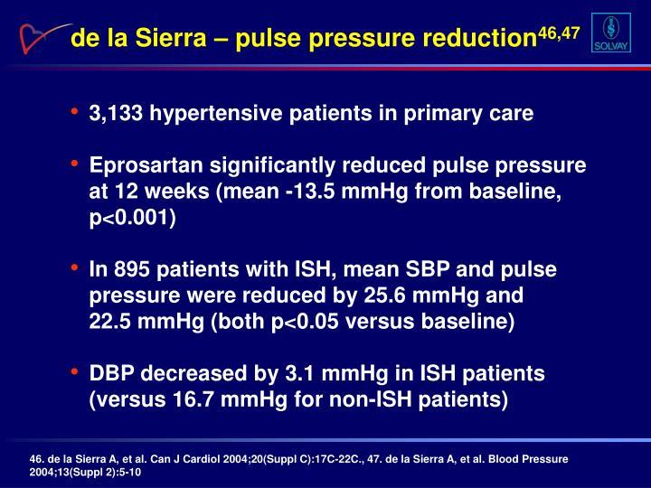 de la Sierra – pulse pressure reduction