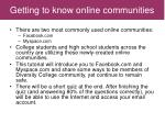 getting to know online communities
