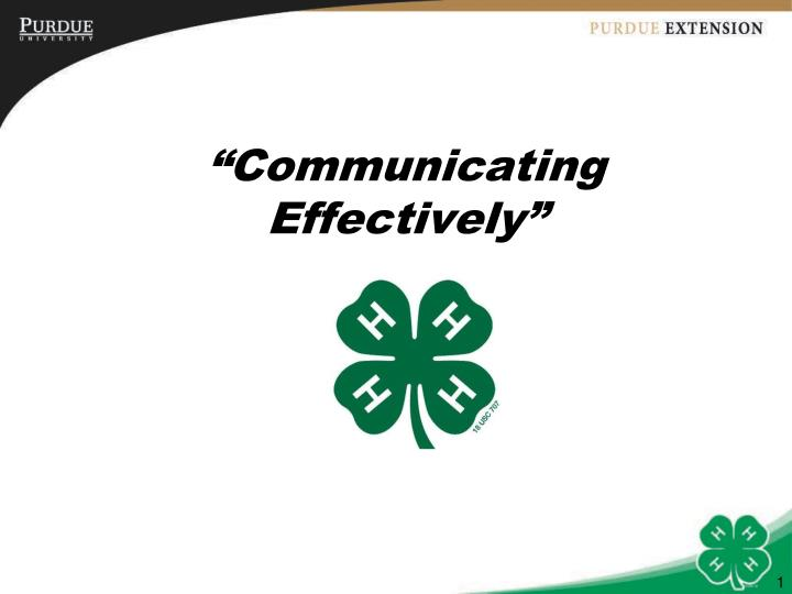 communicating effectively n.