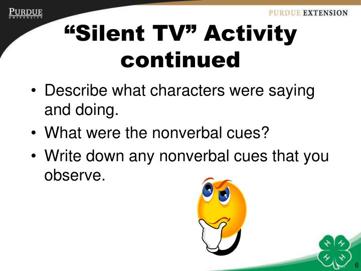 """""""Silent TV"""" Activity continued"""