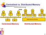 centralized vs distributed memory