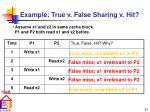 example true v false sharing v hit