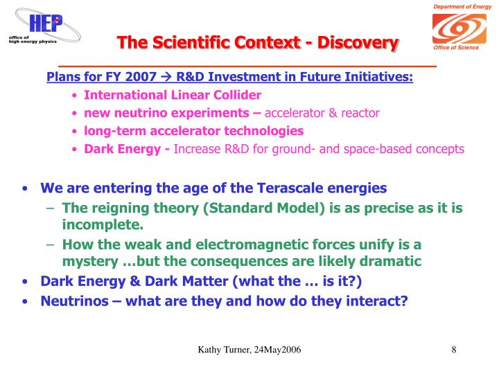 The Scientific Context - Discovery
