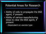 potential areas for research