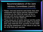 recommendations of the joint advisory committees cont d