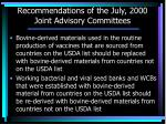 recommendations of the july 2000 joint advisory committees