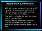 update from 2000 meeting