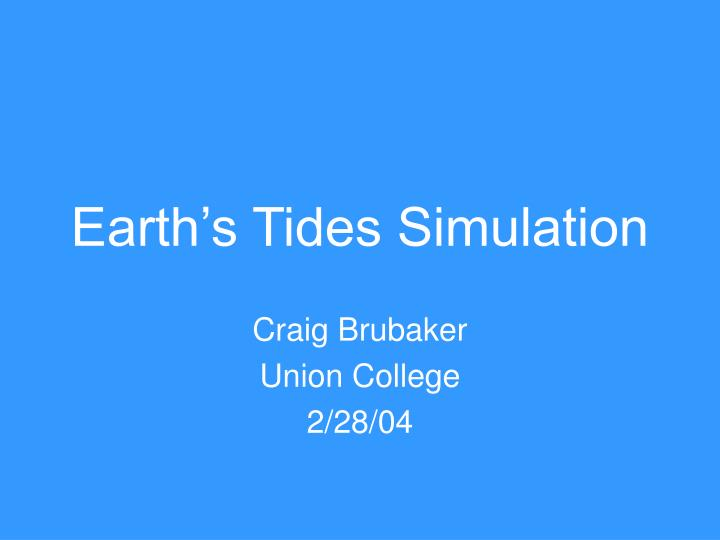 Earth s tides simulation