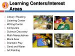 learning centers interest areas