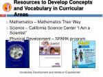 resources to develop concepts and vocabulary in curricular areas