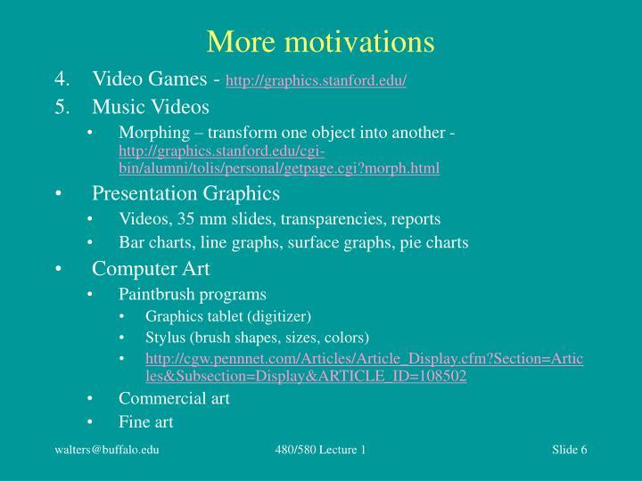 More motivations