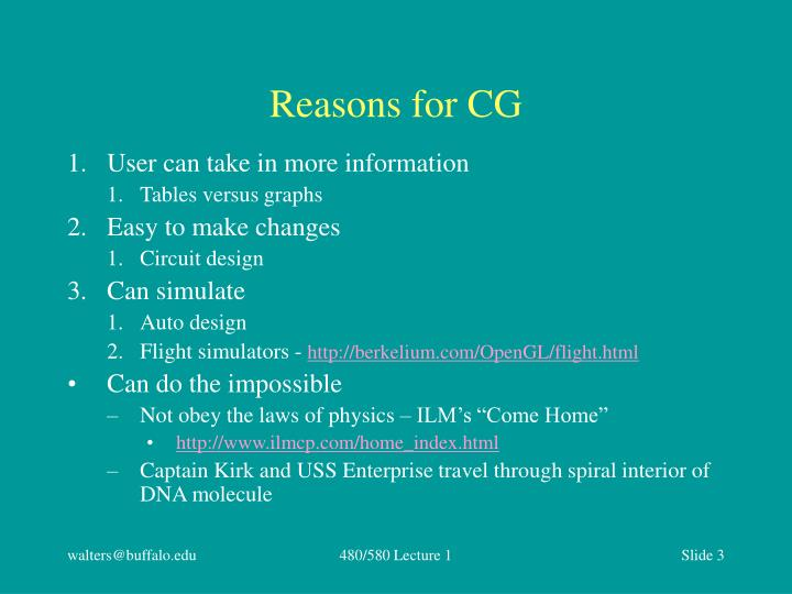 Reasons for cg