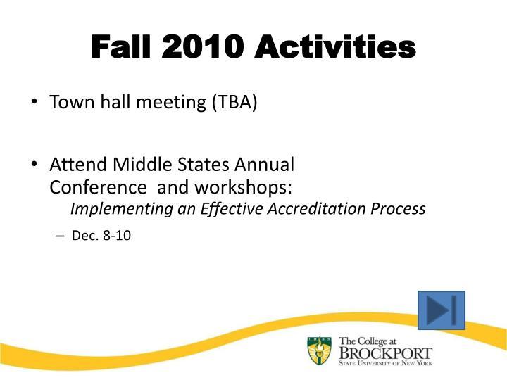 Fall 2010 Activities