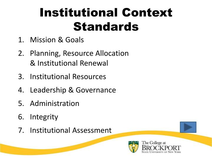 Institutional Context Standards