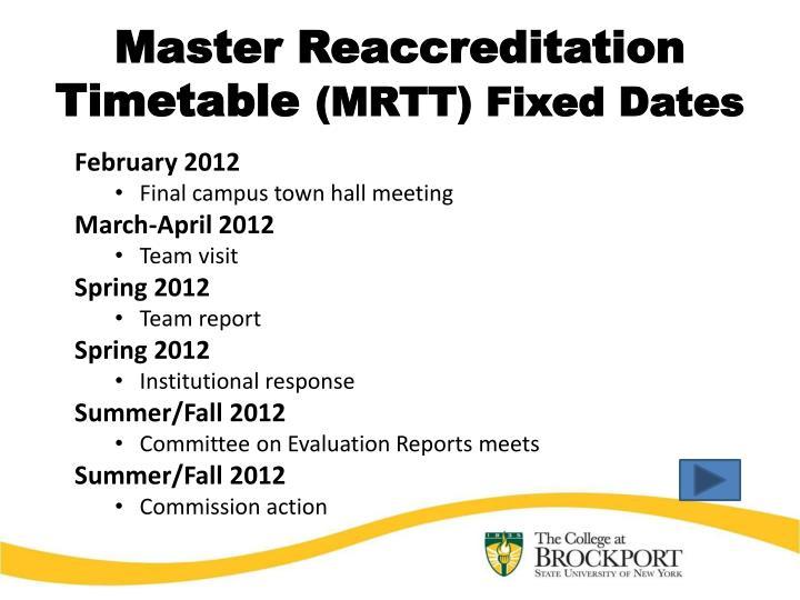 Master Reaccreditation Timetable