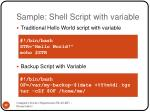 sample shell script with variable