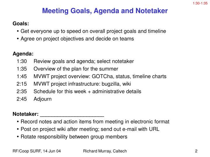 Meeting goals agenda and notetaker