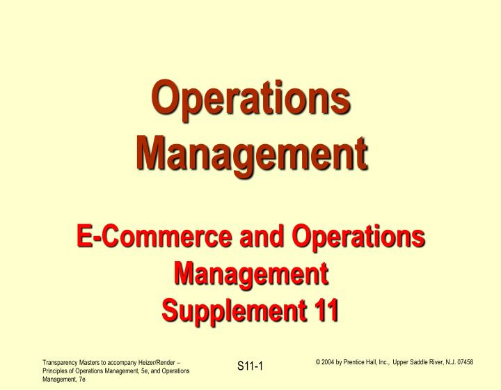 operations management e commerce and operations management supplement 11 n.