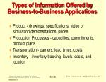 types of information offered by business to business applications