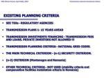 existing planning criteria