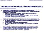 methodology for project prioritization cont