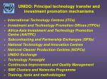 unido principal technology transfer and investment promotion mechanisms